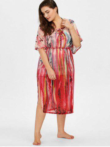 Hot Print Lace Up Plus Size Cover-Up - ONE SIZE COLORMIX Mobile