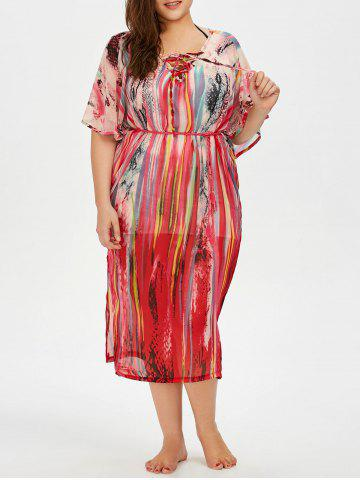 Trendy Print Lace Up Plus Size Cover-Up - ONE SIZE COLORMIX Mobile