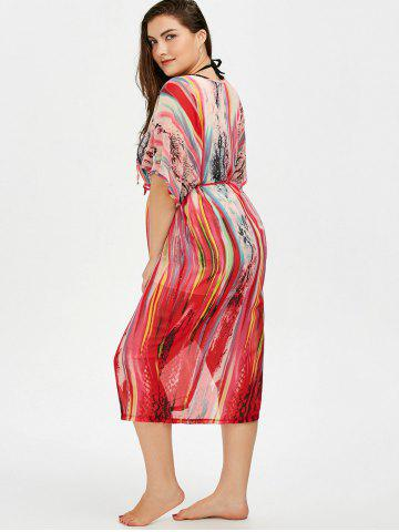 Fashion Print Lace Up Plus Size Cover-Up - ONE SIZE COLORMIX Mobile