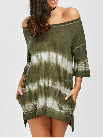 Off Shoulder Slit Tie Dye High Low Summer Dress - Army Green - M
