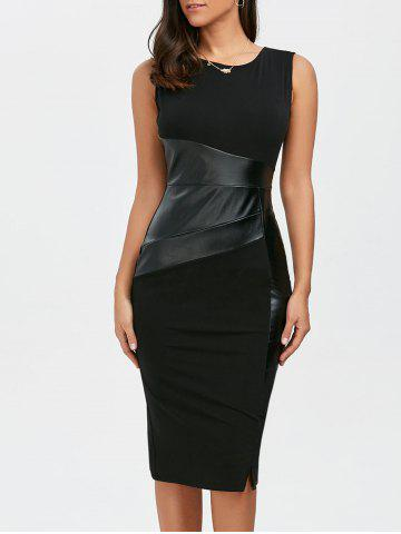 Fashion Faux Leather Panel Midi Fitted Tight Dress BLACK L