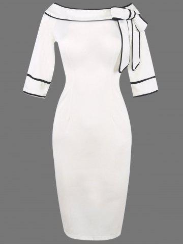 Shop Boat Neck Bowknot Embellished Bodycon Dress