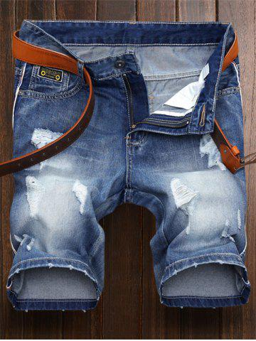 Embroidered Patch Ripped Denim Shorts - Denim Blue - 42