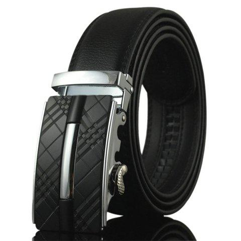 Cheap Plaid Engraved Alloy Buckle Faux Leather Belt