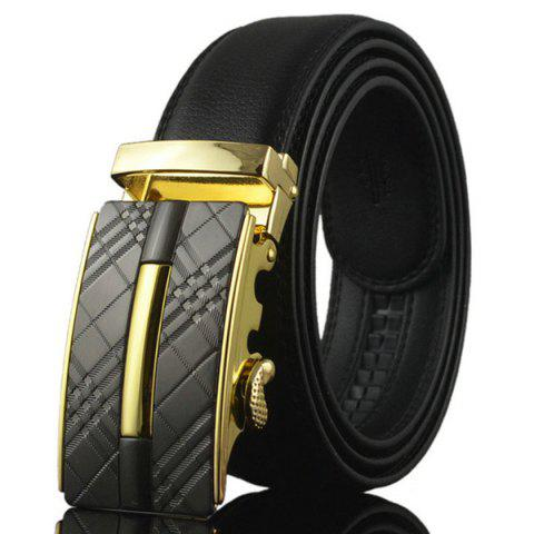 Outfit Plaid Engraved Alloy Buckle Faux Leather Belt - GOLDEN  Mobile