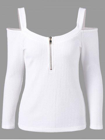 Ribbed Zip Front Cold Shoulder T-shirt - White - M