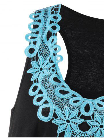 Fashion Applique Racerback Tank Top - XL BLUE AND BLACK Mobile
