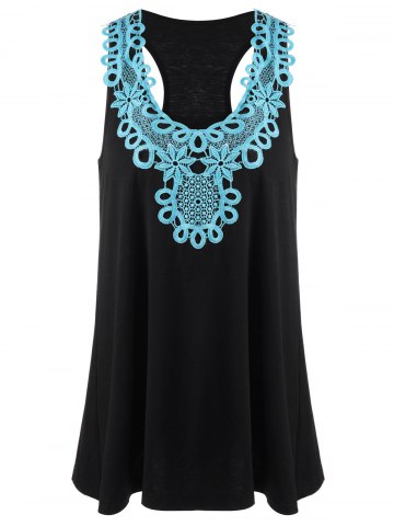 Affordable Applique Racerback Tank Top - XL BLUE AND BLACK Mobile
