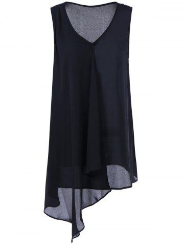 Outfit Asymmetrical Extra Long Plus Size Tank Top - 2XL BLACK Mobile