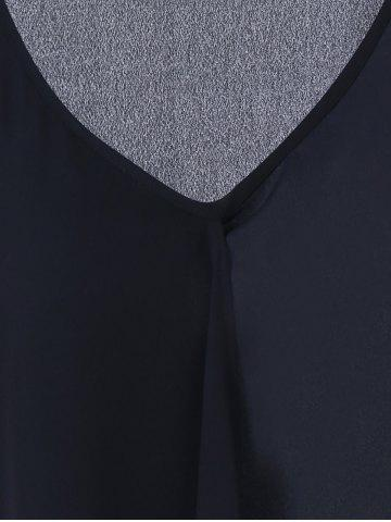 Trendy Asymmetrical Extra Long Plus Size Tank Top - 2XL BLACK Mobile