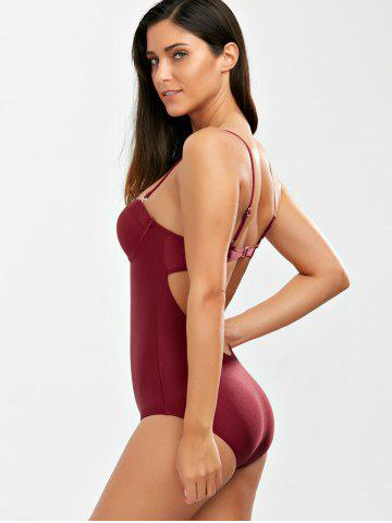 Chic Backless One Piece Padded Push Up Bra Swimsuit - XL WINE RED Mobile