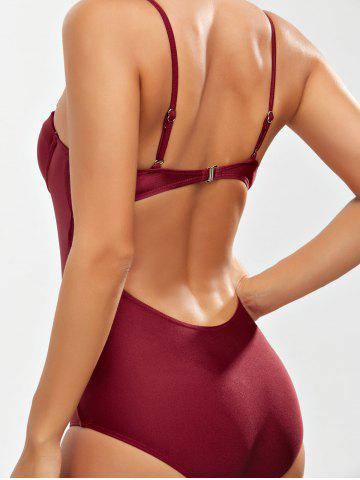 Outfits Backless One Piece Padded Push Up Bra Swimsuit - XL WINE RED Mobile