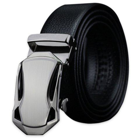 Store Polishing Geometric Automatic Buckle Faux Leather Belt