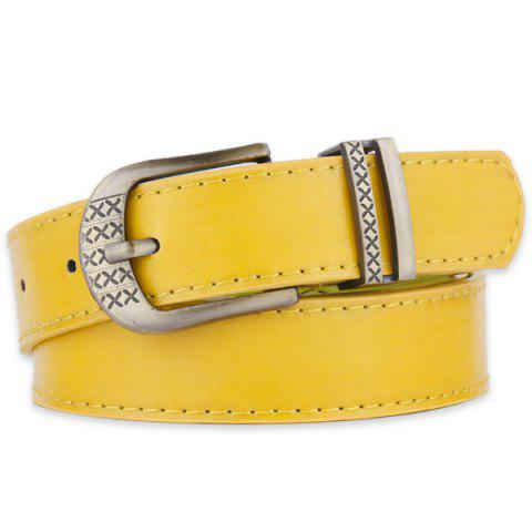 Trendy Metallic Engraved Pin Buckle Faux Leather Bet - YELLOW  Mobile