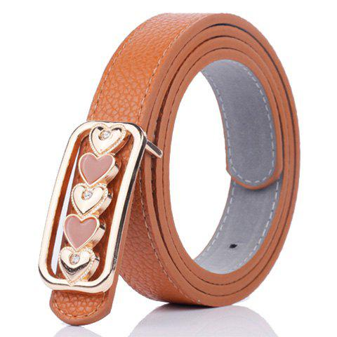 New Tiny Heart Plate Buckle Faux Leather Belt - BROWN  Mobile