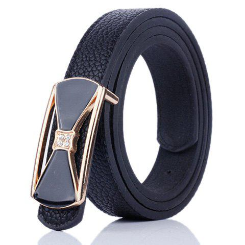 Chic Hollow Out Bowknot Plate Buckle Wide Leather Belt - BLACK  Mobile