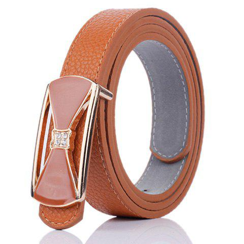 Outfits Hollow Out Bowknot Plate Buckle Wide Leather Belt - BROWN  Mobile