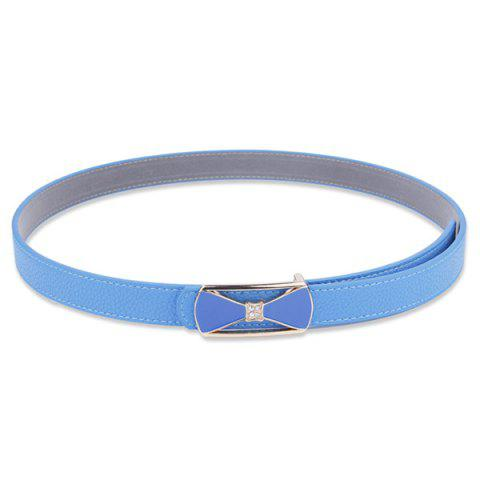 Sale Hollow Out Bowknot Plate Buckle Wide Leather Belt - BLUE  Mobile