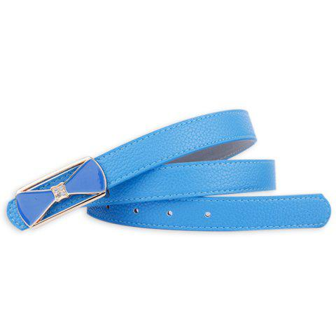 Cheap Hollow Out Bowknot Plate Buckle Wide Leather Belt - BLUE  Mobile