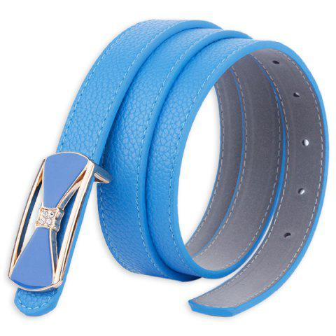 Fashion Hollow Out Bowknot Plate Buckle Wide Leather Belt - BLUE  Mobile