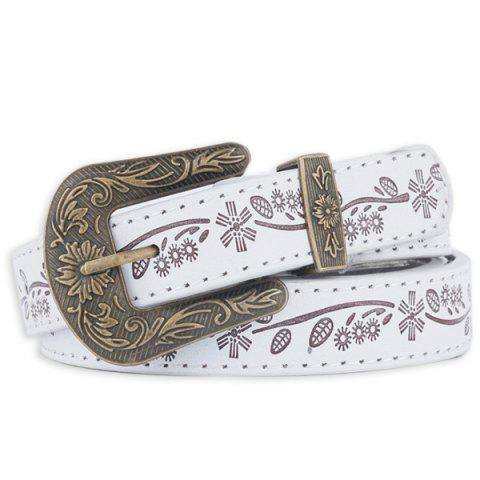 Chic Floral Emboss Pin Buckle Faux Leather Waist Belt - WHITE  Mobile