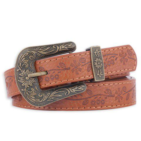 Latest Floral Emboss Pin Buckle Faux Leather Waist Belt - BROWN  Mobile