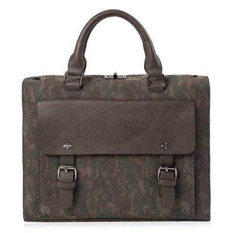 Chic Dual Buckles Camouflage Printed Briefcase - CAMOUFLAGE  Mobile