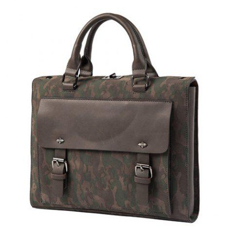 Unique Dual Buckles Camouflage Printed Briefcase - CAMOUFLAGE  Mobile