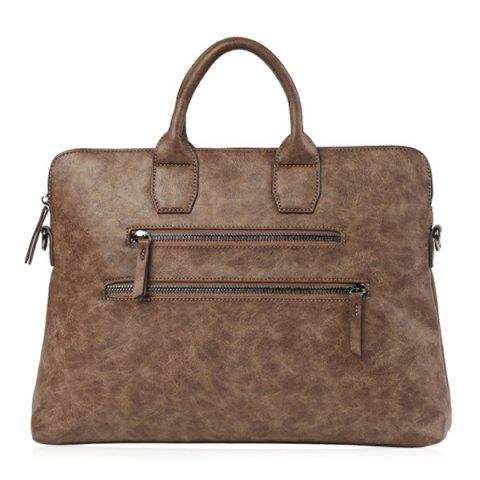 Discount Multi Zippers Faux Leather Briefcase - COFFEE  Mobile