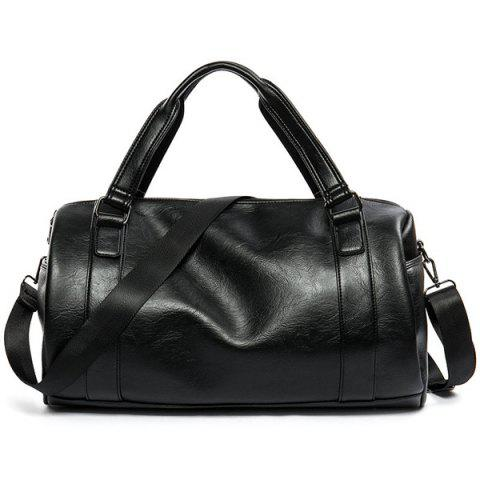 Cross Body Faux Leather Weekend Bag - Black
