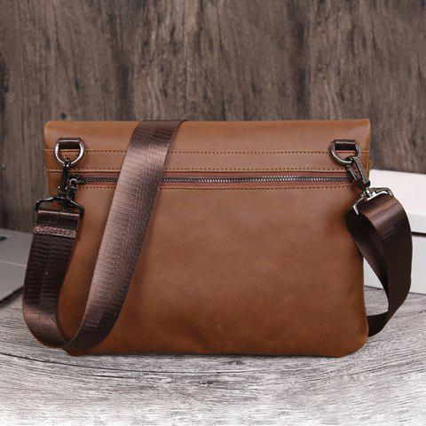 Cheap Fold Down PU Leather Crossbody Bag - COFFEE  Mobile