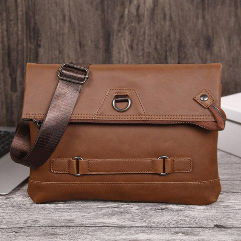 Unique Fold Down PU Leather Crossbody Bag - COFFEE  Mobile
