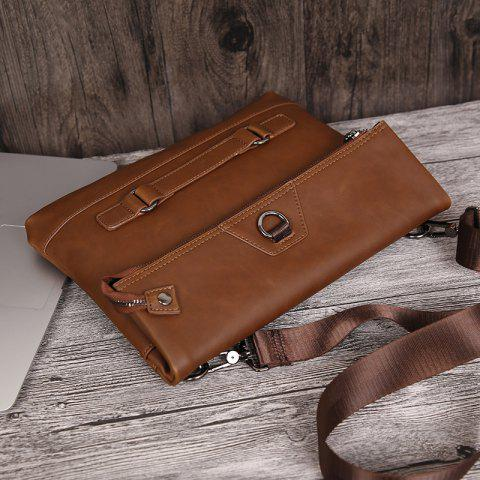 Outfit Fold Down PU Leather Crossbody Bag - COFFEE  Mobile