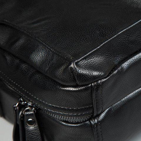 Store Zips Detail Faux Leather Crossbody Bag - BLACK  Mobile