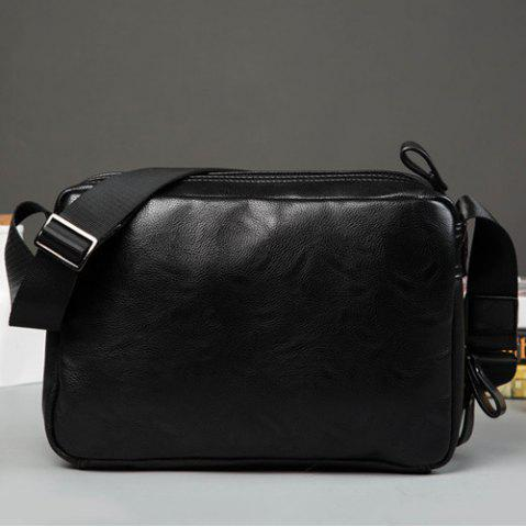Hot Zips Detail Faux Leather Crossbody Bag - BLACK  Mobile