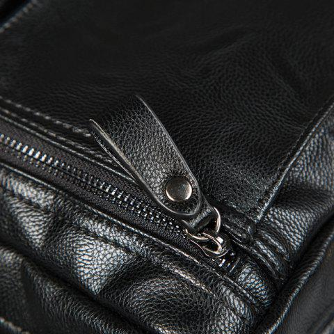 Online Zips Detail Faux Leather Crossbody Bag - BLACK  Mobile