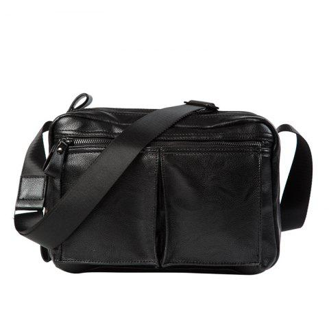Outfit Zips Detail Faux Leather Crossbody Bag - BLACK  Mobile