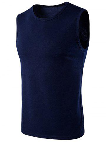 Unique Crew Neck Sleeveless T-Shirt CADETBLUE S