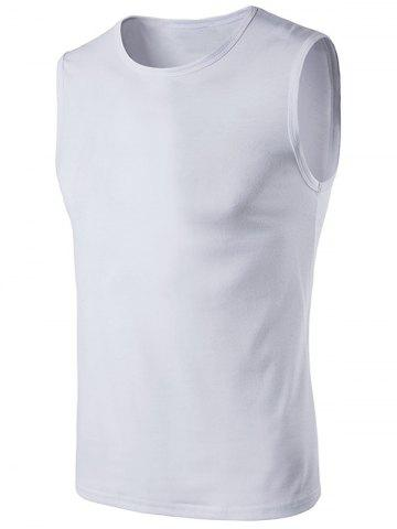 Affordable Crew Neck Sleeveless T-Shirt WHITE 2XL