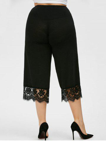 Chic Lace Trim Plus Size Capri Palazzo Pants - 4XL BLACK Mobile