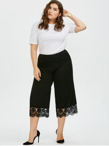 Latest Lace Trim Plus Size Capri Palazzo Pants - 4XL BLACK Mobile