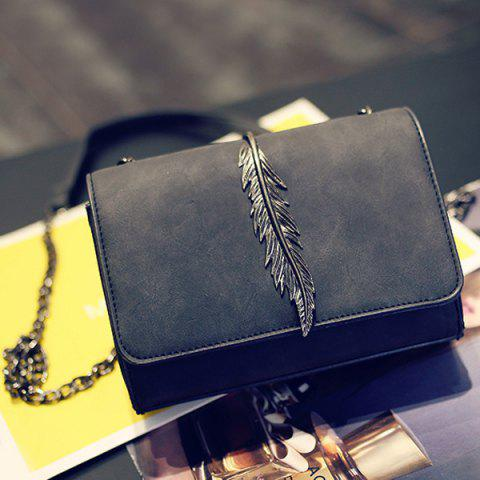 Metal Leaf Chains Crossbody Bag - Black - Horizontal