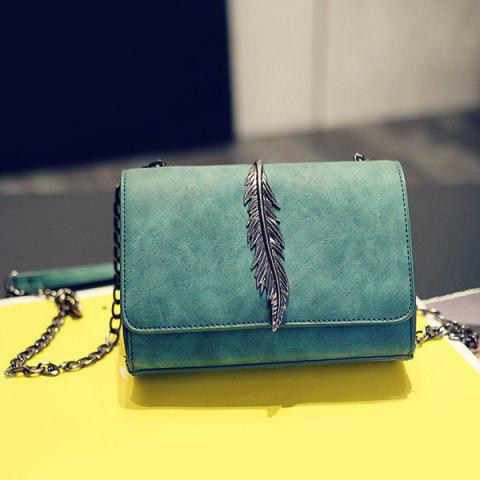 Fashion Metal Leaf Chains Crossbody Bag GREEN HORIZONTAL