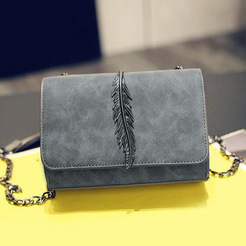 Affordable Metal Leaf Chains Crossbody Bag GRAY HORIZONTAL