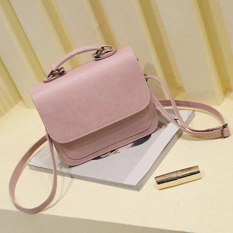 Store Flap PU Leather Crossbody Bag PINK HORIZONTAL