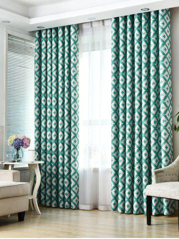 Geometry Pattern Shading Window Blackout Curtain - Turquoise