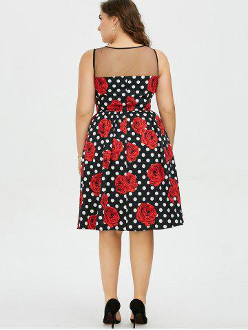 Discount Plus Size Floral and Polka Dot Bridesmaid Dress - 2XL BLACK AND WHITE AND RED Mobile