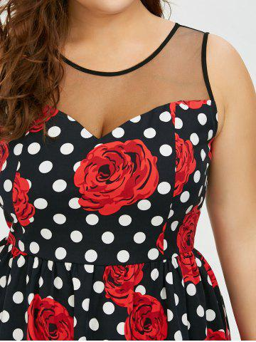Cheap Plus Size Floral and Polka Dot Bridesmaid Dress - 5XL BLACK AND WHITE AND RED Mobile
