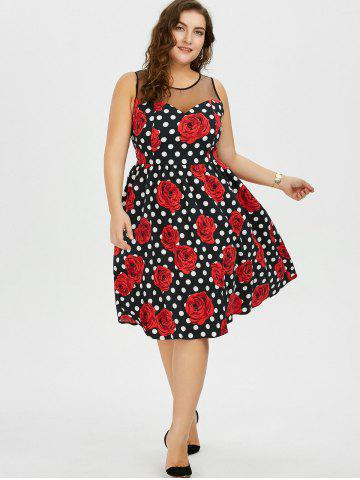 Discount Plus Size Floral and Polka Dot Bridesmaid Dress - 5XL BLACK AND WHITE AND RED Mobile