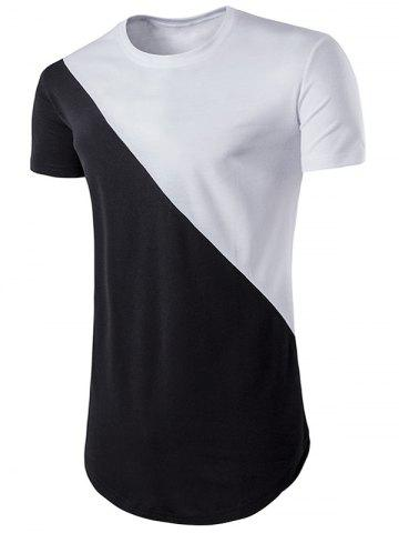 Geometric Color Block Hem T-shirt